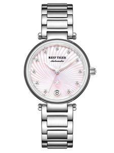 Pink Tiger/rt Watches Bracelet Automatic Luxury Brand Diamond Reloj Stainless-Steel RGA1590