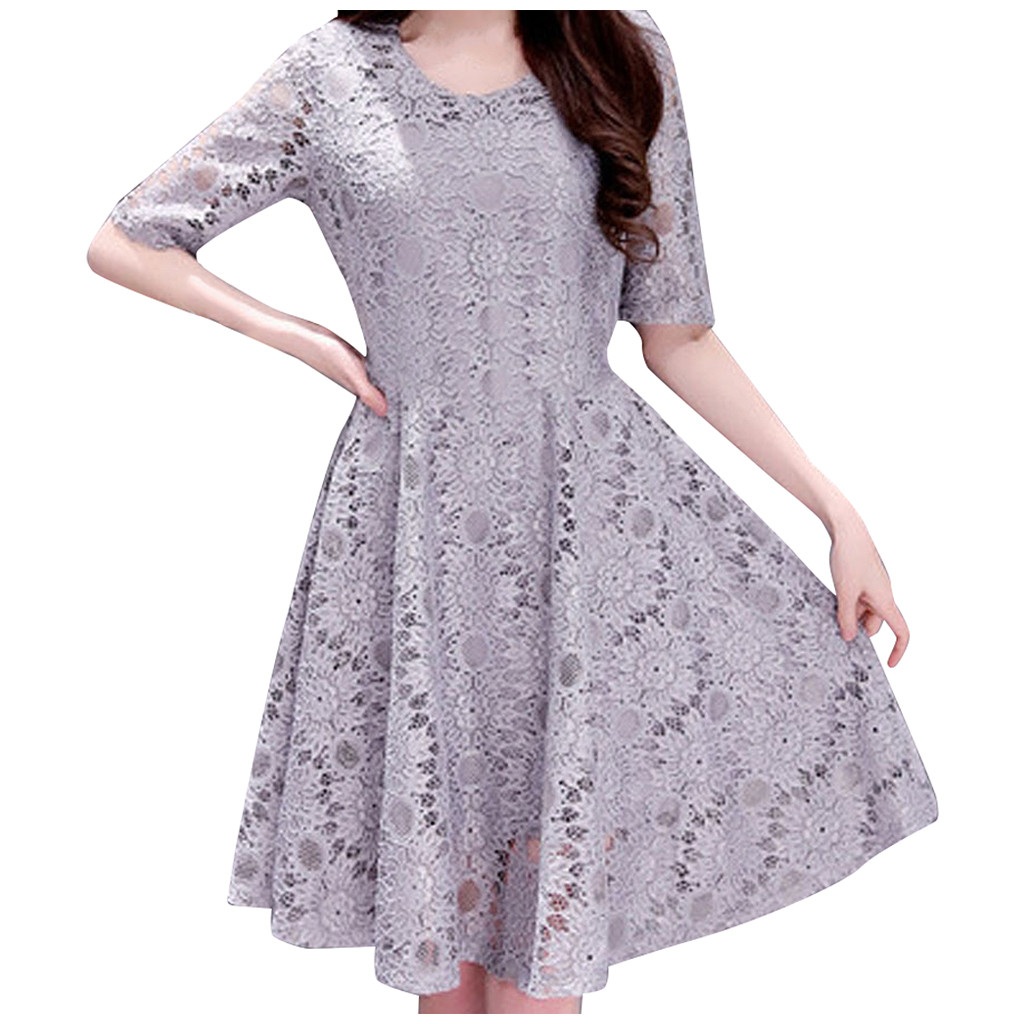 vestidos women dress Solid Color Lace Plus Size Cut out Half sleeves long party dress ropa mujer sukienka robe hiver femme