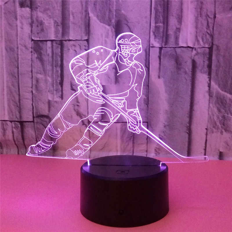 3D LED Ice Hockey Player Table Lamp USB Visual Luminaria Bedside Night Lights For Kids Gifts Baby Sleeping Lighting Sports Decor