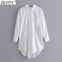 Zevity Neue Frauen Einfach Tasche Patch Beiläufige Lange Bluse Damen Langarm Business Shirt Chic Femme Breasted Blusas Tops LS7346