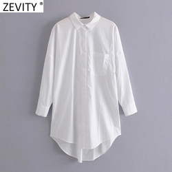 Zevity New Women Simply Pocket Patch Casual Long Blouse Ladies Long Sleeve Business Shirt Chic Femme Breasted Blusas Tops LS7346