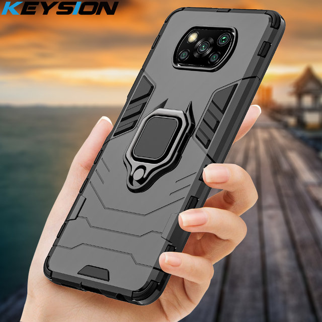 KEYSION Shockproof Case for Xiaomi POCO X3 GT NFC M3 Pro 5G F2 Ring Stand Phone Back Cover for Xiaomi Pocophone X3 Pro X2 F3 F1 1