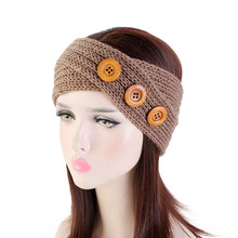 Winter 3 Wood Buttons Cross Knot Knitted Headband For Women Fashion Ear Warmer Head Wrap bohemian Wide Headband Hair Accessories(China)