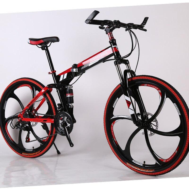 Polegadas Dobrável Mountain Bike Condução Adulto Velocidade Variável Dupla Amortecedor Estudante Corrida Cross-country Bicicleta. 26 Mod. 220704