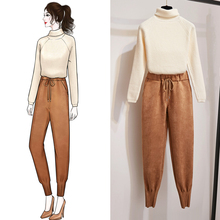 New Winter Two-Piece Women Lazy Turtleneck Leisure Deerskin Flocking Turnip Pants Suit Casual Knitwear Lady Clothes Top Trousers