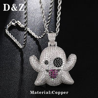 D&Z Hip Hop Iced Out Bling CZ Funny Spit Tongue Emoji Ghost Necklaces Pendants For Male Street Rapper Jewelry