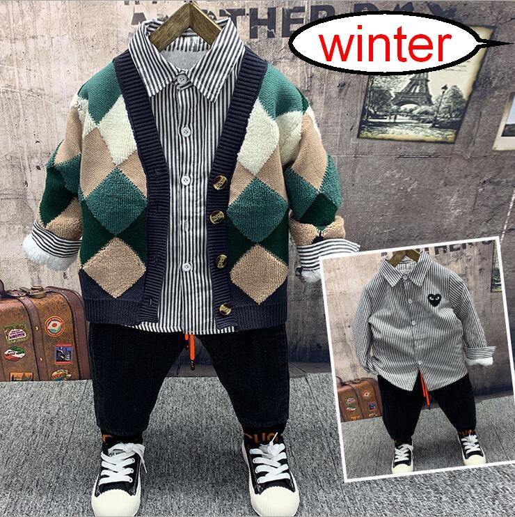 Winter boys Knit Cardigan,plush shirts,plush jeans 3pcs Outfit Kids Boys Clothes Set Sport Suit For Toddler Clothing Sets 2-6yr
