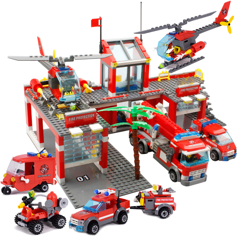 244pcs Fire Fighting Rescue Trucks Car Building Blocks City Police Firefighter Bricks children boys Toys Christmas Gifts