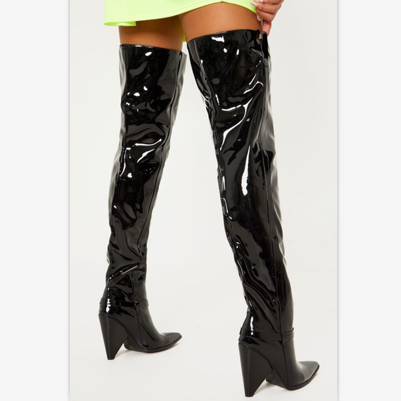 Prova Perfetto marka moda kadın uzun çizmeler pürüzsüz rugan sivri burun tıknaz siyah seksi çizmeler yüksek kaliteli yıldız tarzı