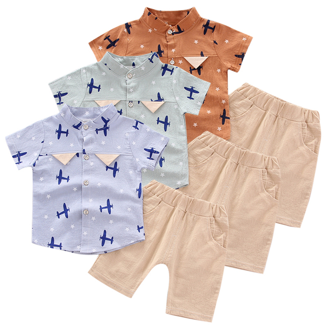 Boy Clothes Outfits Summer Children Baby Boys Short Sleeve Floral Pattern T-shirt Blouse+Shorts Casual Outfits Set 26