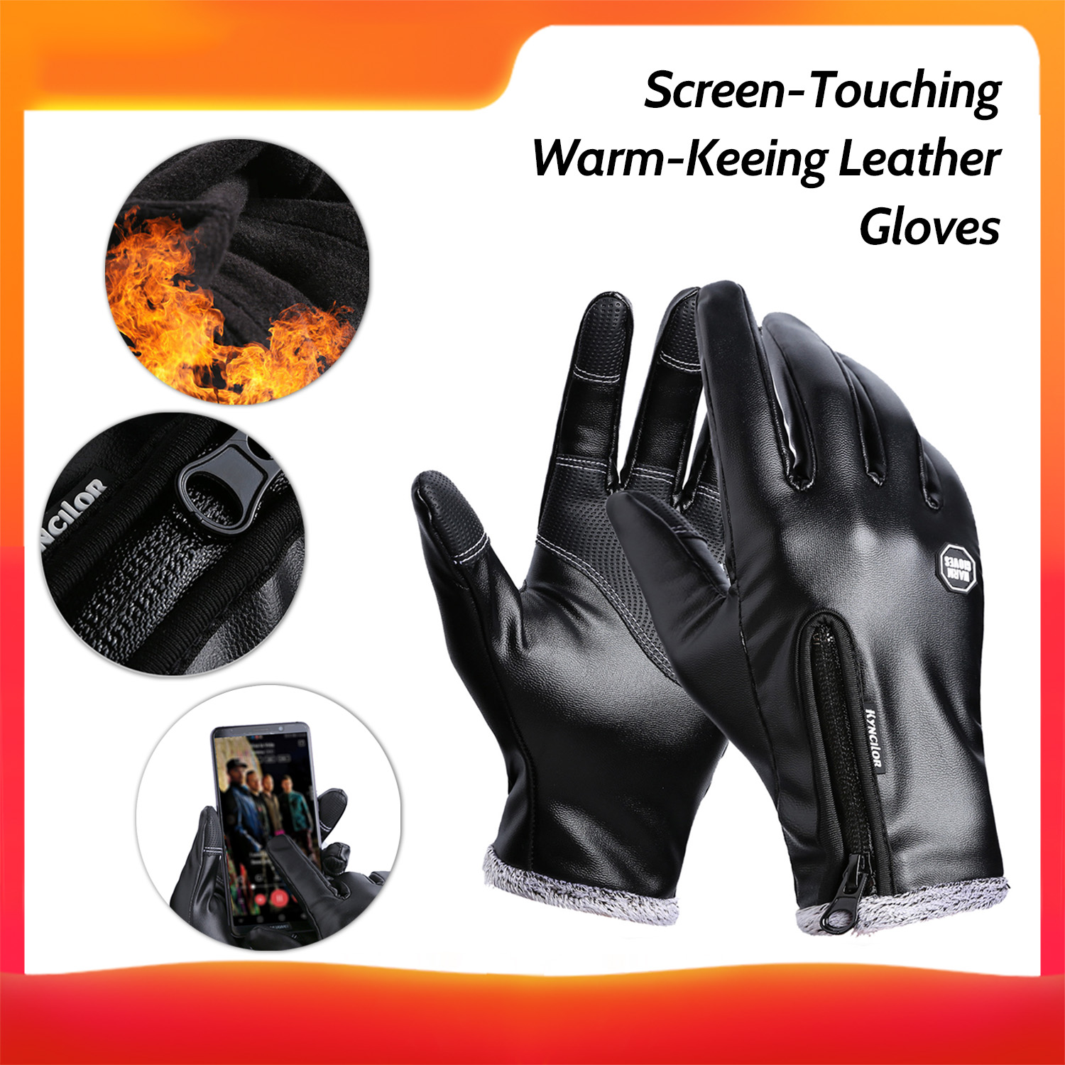 Kyncilor Winter Outdoor Sports Gloves Screen-Touching Leather Gloves Fashion Warm-Keeping Gloves Cold Weather