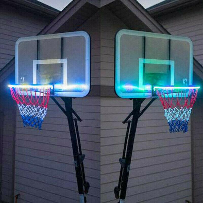 LED Basket Hoop Solar Light Basketball Hoop Sensor-Activated LED Solar Strip Light-8 Flash Modes Shoot Hoops At Night Basketball