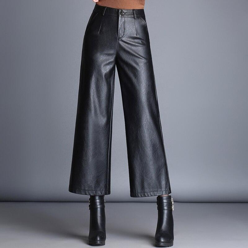 Women's Fleece-Lined Leather Pants Capri-Pants Fashion High Waist Wide Leg Pants PU Leather Pants Casual Pants Fall 2020 Women