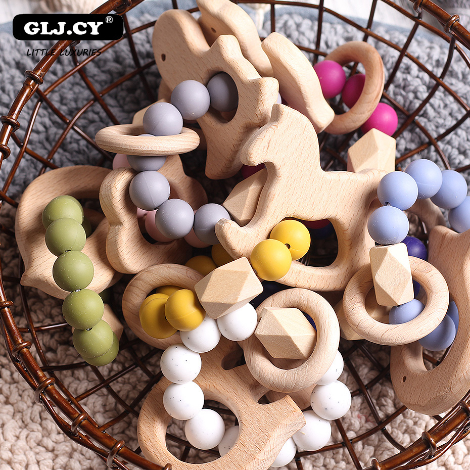1pc Nursing Baby Teether Teething Natural Beech Wood Ring Silicone Beads Hand Weave Bracelet Organic Infant Natural Gift Toys