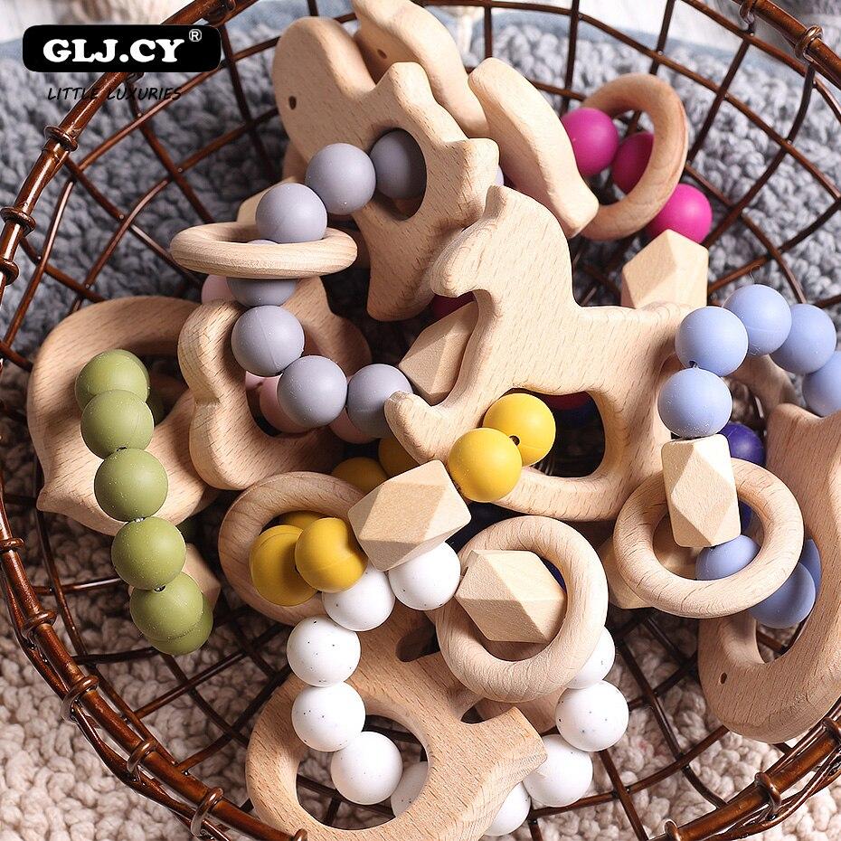 1pc soins infirmiers bébé dentition dentition naturel hêtre bois anneau Silicone perles à la main tissage Bracelet bio infantile naturel cadeau jouets