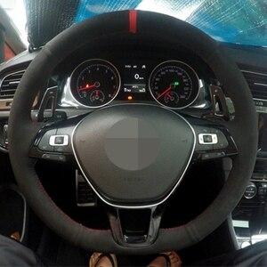 Image 2 - DIY Black Suede Car Steering Wheel Cover for Volkswagen VW Golf 7 Mk7 Sharan 2016 2017 New Polo Jetta Passat B8 Tiguan 2017