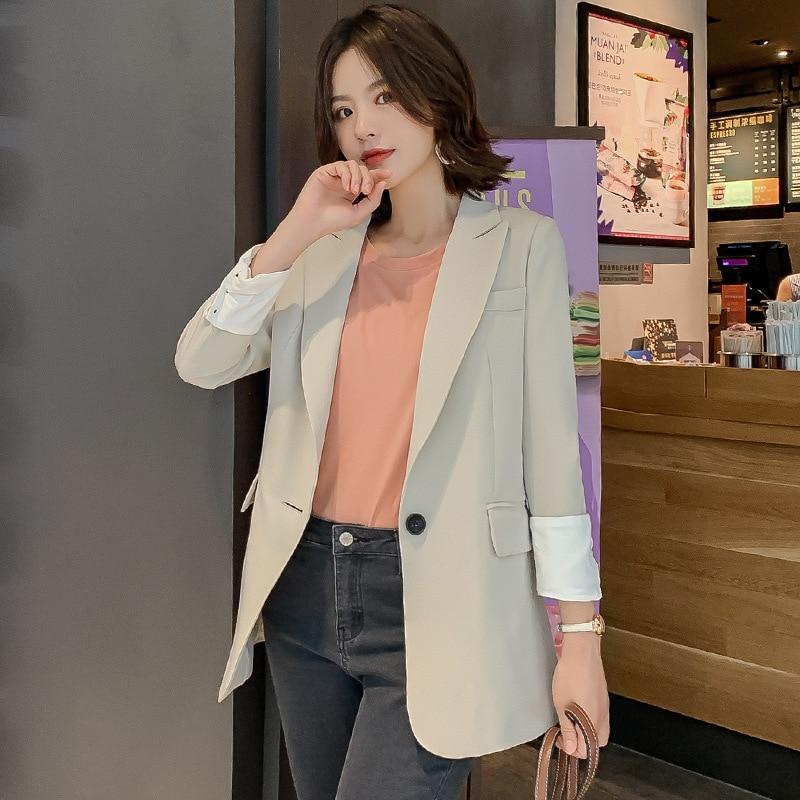 Vintage Korean Plaid Blazer feminino Pockets Autumn Winter Retro Coat long sleeve Black women blazers and jackets Outerwear in Blazers from Women 39 s Clothing