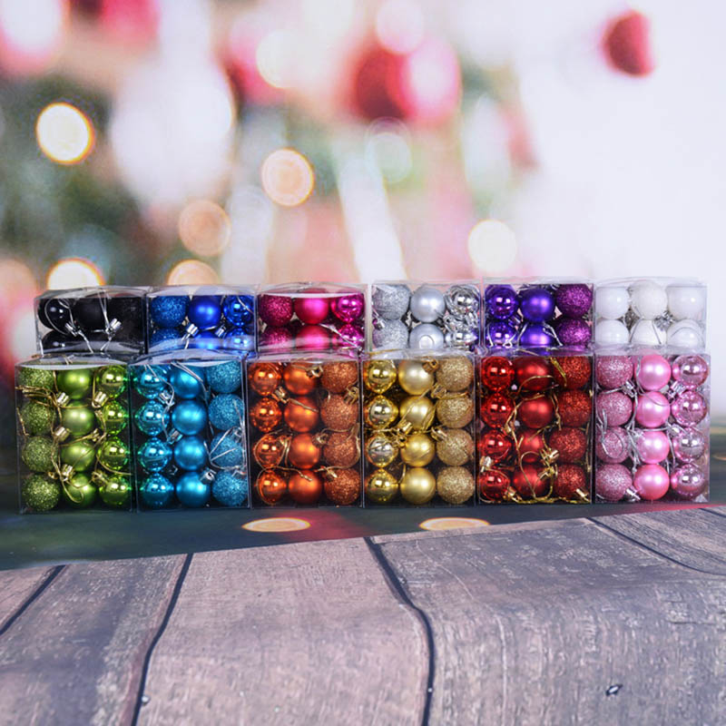 24pcs 30mm Mini Christmas Balls Baubles Plastic Tree Hanging Decorations For Party MU8669
