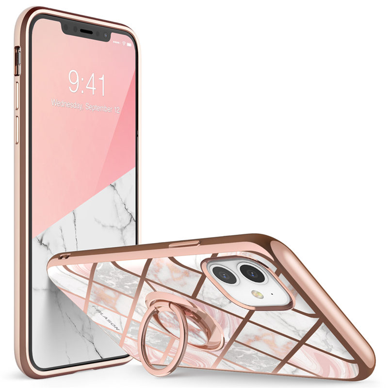 I-BLASON For iphone 11 Case (2019) Cosmo Snap Slim Marble Cover with Built-in Rotatable Ring Holder Kickstand Support Car Mount