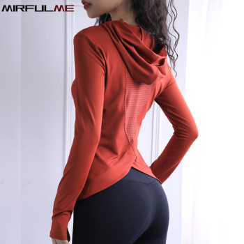 Women Back Forked Yoga Shirt Long Sleeve Thumb Hole Running T-shirt Mesh Breathable Sport Hoodies Fitness Top Gym Workout Blouse 1