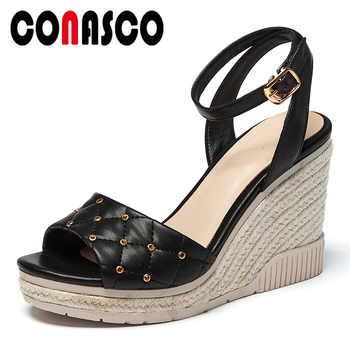 CONASCO Summer New Genuine Leather Women Sandals Pumps Fashion Concise Sexy Rhinestone Ankle Strap High Heels Wedges Shoes Woman