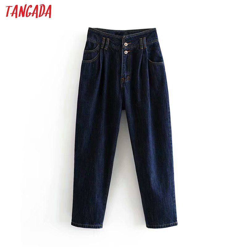 Tangada Fashion Women Dark Blue Harm Jeans Pants Boy Friend Style Long Trousers Pockets Zipper Loose Female Pants 6P55
