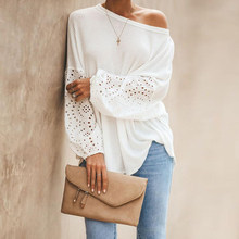 Sexy One Off Shoulder Knitted Pullover Sweaters Casual White Long Flare Sleeve Embroidery Hollow Out Knitwear Jumper Tops(China)
