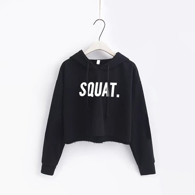 Sports Hooded Letter Print SQUAT Hoodies Women pullover Harajuku Loose short Crop Tops Streetwear Black Long sleeve Sweatshirts