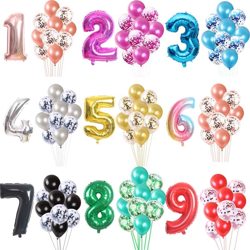11 шт./компл. большой Размеры номер цифровой воздушный шарик из фольги в Форме Конфетти латексные воздушные шары на день рождения вечерние св...