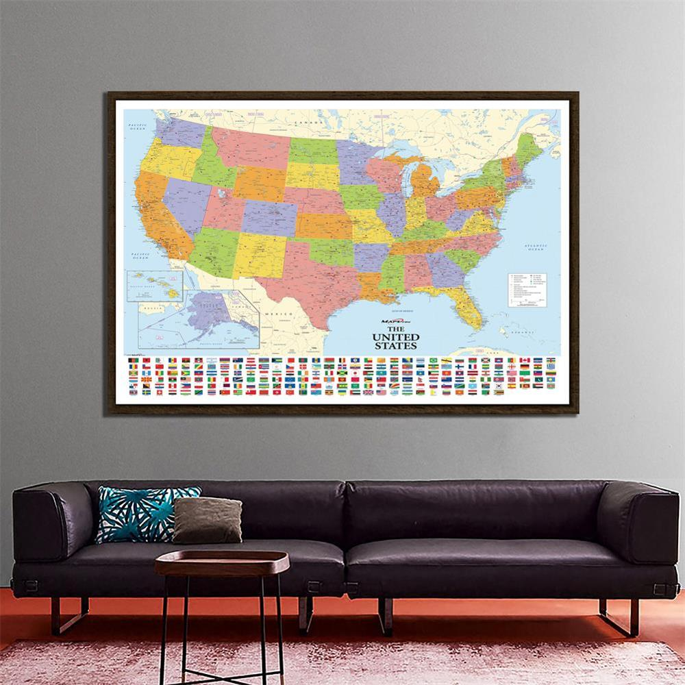 150x100cm Non-woven Map Of The United States With National Flags Detailed American Map For Culture And Education