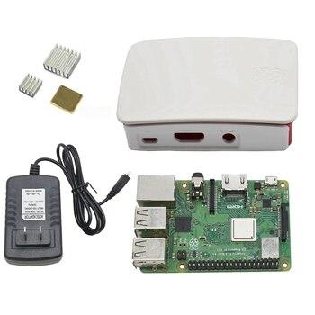 4 in 1 for Raspberry Pi 3 Model B+(Plus) Board + Abs Case + 5V 3A Power Adapter + Heatsink Kit for Raspberry Pi 3B+