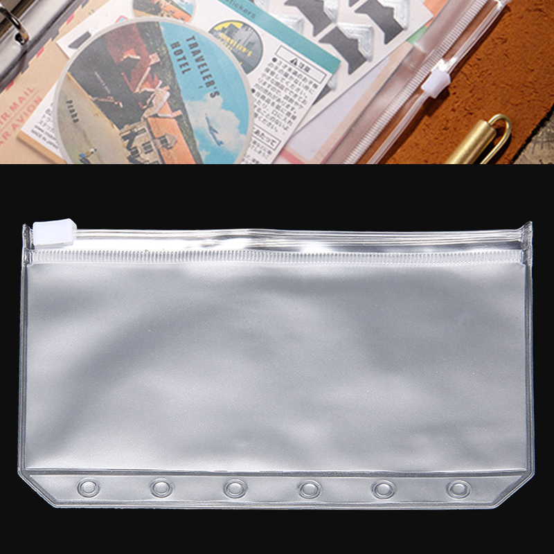 A7 PVC Notebook Zipper Bag Loose-Leaf Folder Business Card Bag 6 Hole Children Learning Folder Office Supplies