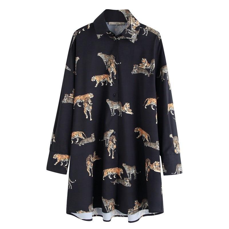 High Street Vintage Tiger Print Women Blouse Loose Blusas Mujer De Moda 2020 Long Blouse  Shirts Oversized Womens Tops Dropship 7