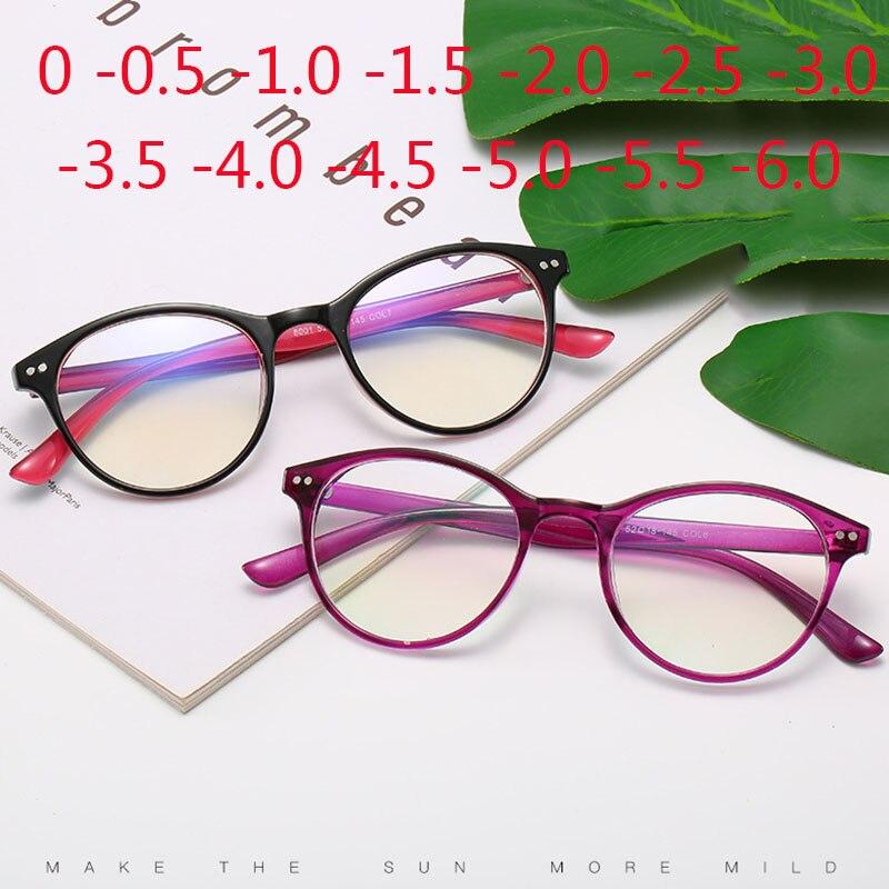 -0.5 -1 -1.5 -2 -2.5 -3 -3.5 -4 -4.5 -5 -5.5 -6 Finished Myopia Glasses Women Short-sight Eyewear Men Small Round Frame Glasses