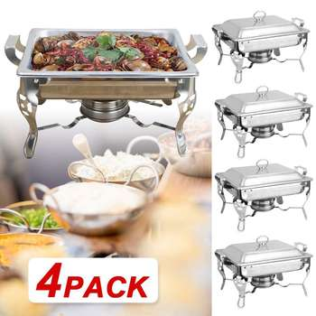Catering Buffet Set Food Chafing Dishes 5L Stainless Steel Chafer Buffet Water Pan Fuel Holder and Lid For Catering Warmer