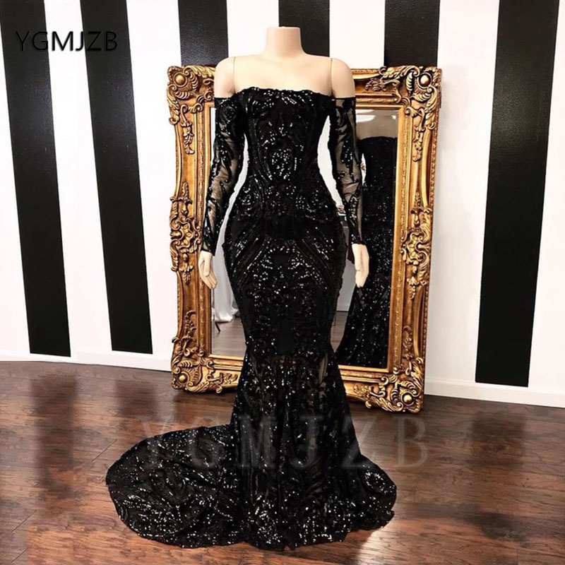 Off The Shoulder Sequined Black Girl Prom Dresses 2020 Mermaid Long Sleeve African Women Formal Prom Gowns Party Dress