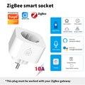 Tuya ZigBee3.0 Smart Plug ЕС 10A Мощность монитор Timer смарт-розетка Tuya/приложение Smart Life дистанционного Управление совместимый с Alexa GoogleHome