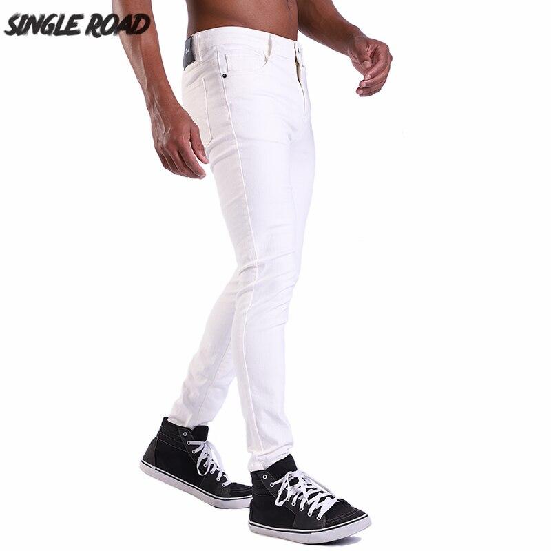 SingleRoad Brand EUR Size High Quality Men's Skinny Jeans Men Solid Plain Stretch White Jeans Male Denim Casual Pants Slim Fit