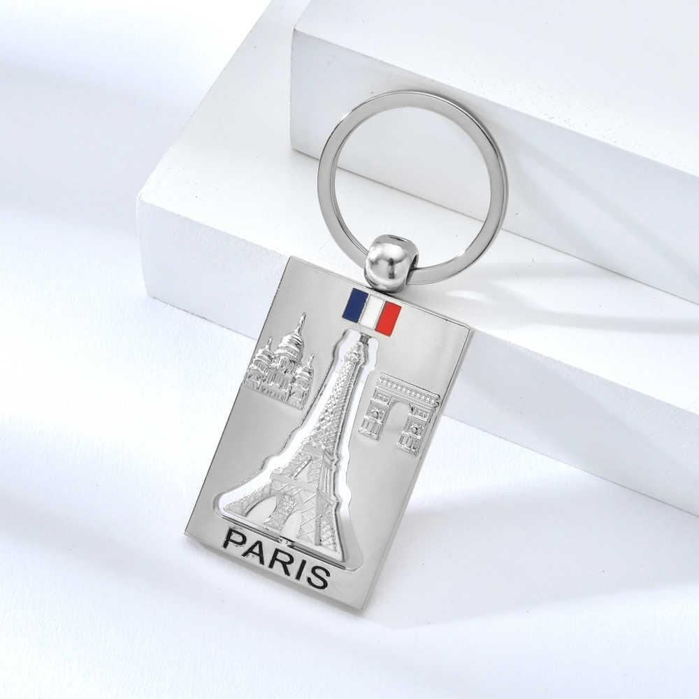 Alta qualidade liga de zinco mental chaveiro rotatable paris torre eiffel chaveiro romântico lembrança carta legal chaveiros para homem