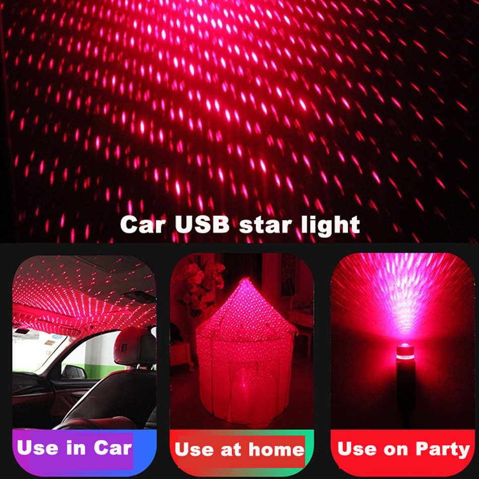 Novelty Car USB Star Beautiful Ceiling Light Starry Sky Projection Decor Lamp Roof Night Lights Protable Romantic Atmosphere