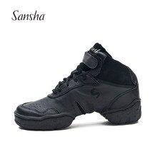 Sansha esportes sapatos de dança clássico popular couro genuíno sola macia respirável jazz moderno tênis de dança para mulher homem h52lpi