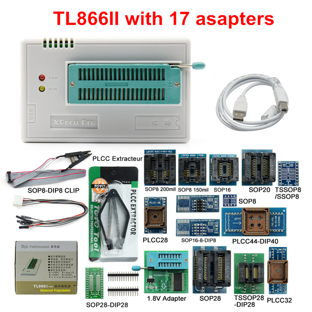 MINI PRO TL866 II Plus V9.0 oryginalny uniwersalny programator USB EEPROM FLASH + 17 adapterów szybki programator TL866