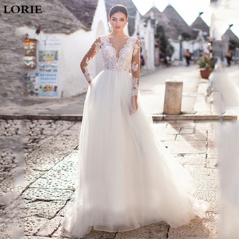 LORIE A Line Boho Wedding Dresses Long Sleeve Lace Bridal Dresses 2019 V Neck S Vestidos De Novia Custom Made