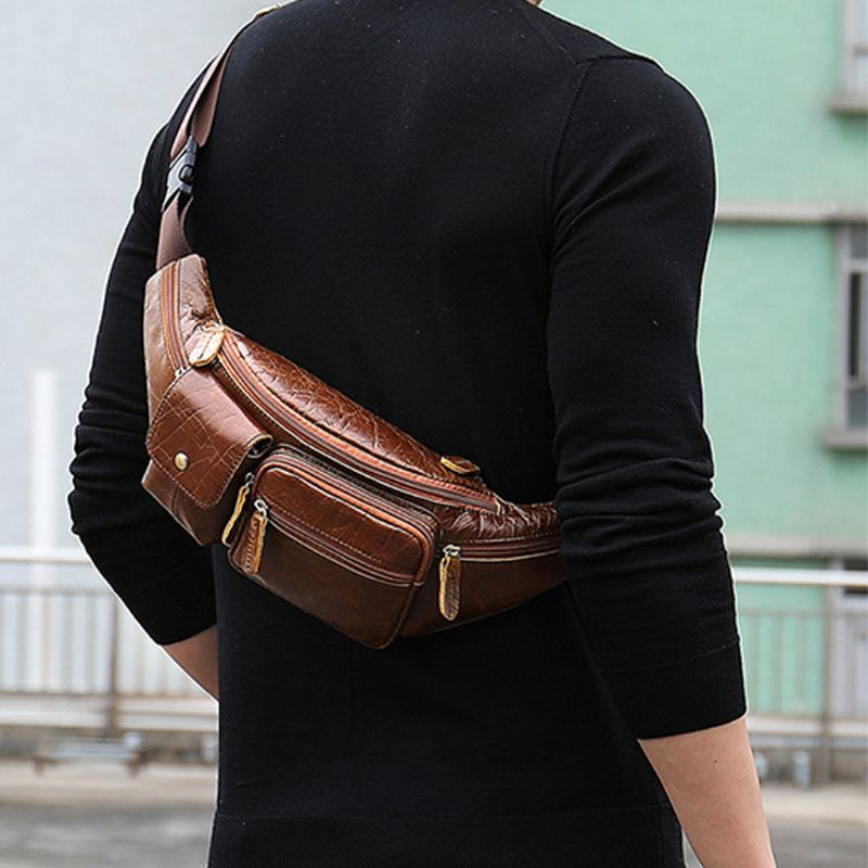 Men's Vintage Genuine Leather Fanny Pack Waist Bum Belt Pack Chest Bag Crossbody Pouch