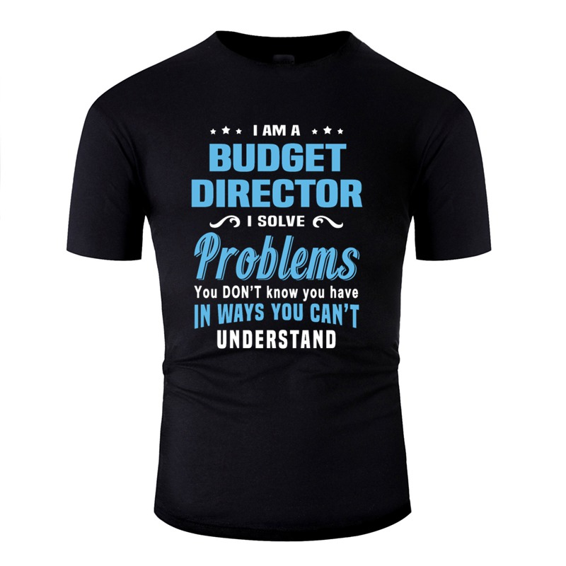 Print budget director tshirt men Round Collar Short-Sleeve 100% cotton mens tshirts hip hop image