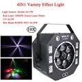 10 шт./лот 120 Вт светодиодный 4в1 различные эффект света лазерный стробоскоп УФ свет и 6x10 Вт RGBW светильник-диско в виде пчелиной соты сценическ...