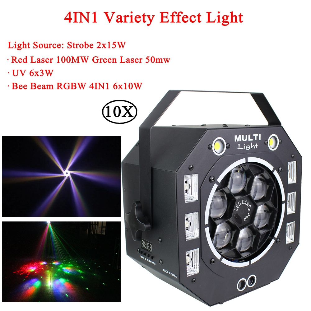 10Pcs/Lot 120W LED 4IN1 Variety Effect Light Laser Strobe UV Light And 6x10W RGBW Bee Beam Stage Music Party DJ Disco Lighting