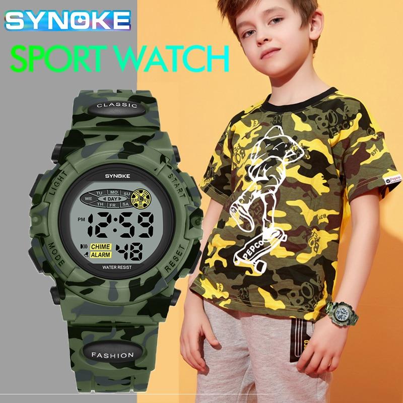 SYNOKE Дети Часы Водонепроницаемость Дети% 27 Спорт Часы LED Камуфляж Армия Часы Montre Enfant Мужчина Цифровой Часы Мальчик Подарок