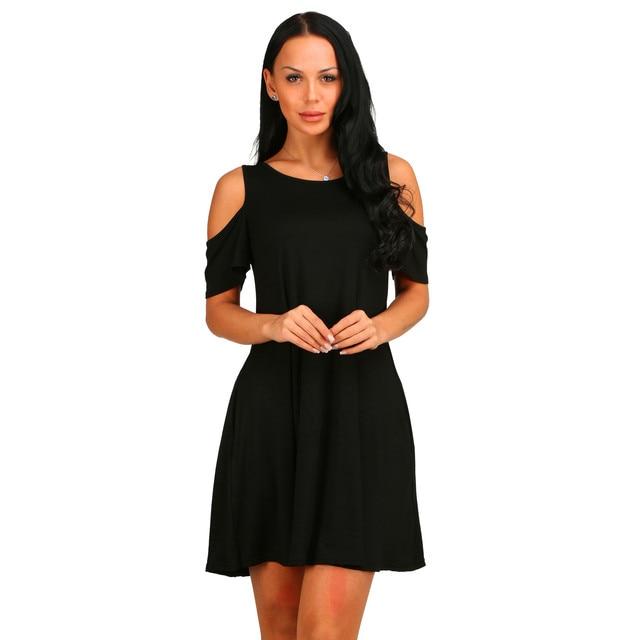 2021 new women's holiday dress European and American summer wish burst loose-shoulder short-sleeved pocket dress