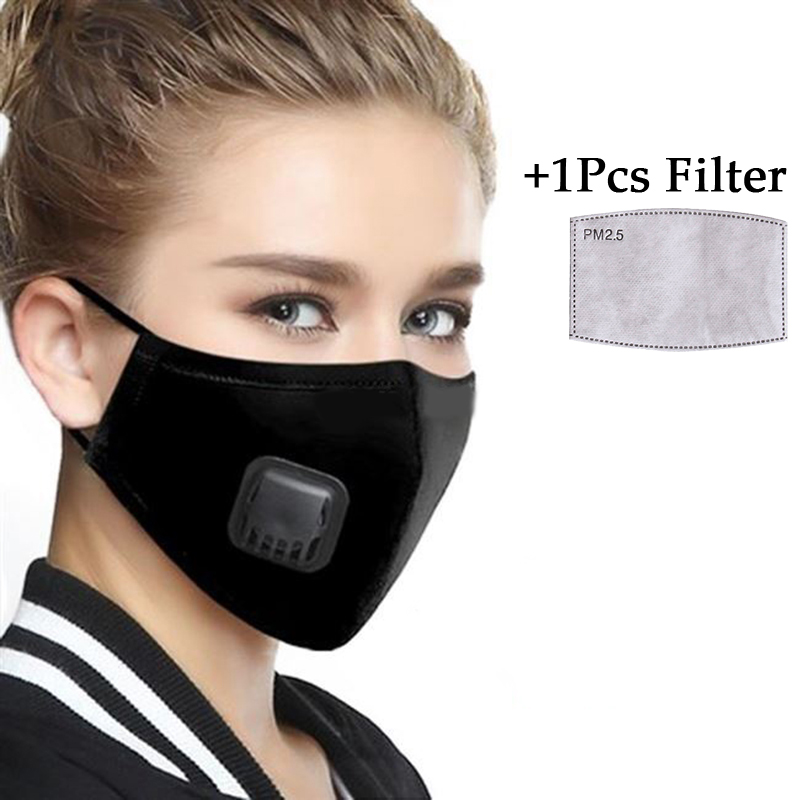 PM2.5 Filter Face Mask Washable Mouth Masks With Breathing Valve Activated Carbon Filter Insert Respirator Bacteria Proof